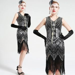 Black and Silver glass beaded Fringe Flapper Dress